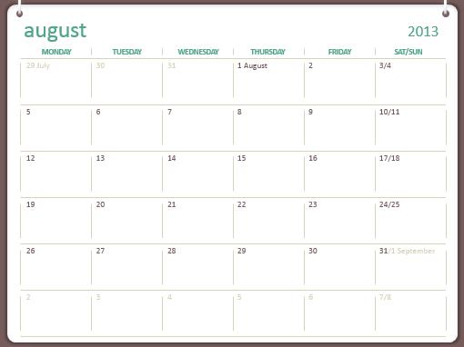 2013-2014 academic calendar (August-July)