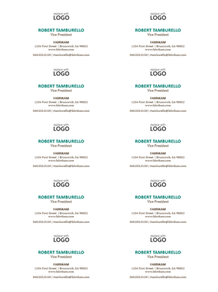 Business cards, horizontal layout with logo (10 per page)