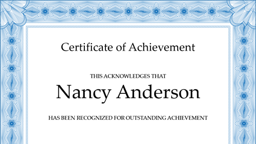 Certificate of achievement blue Office Templates – Certificates of Completion Templates