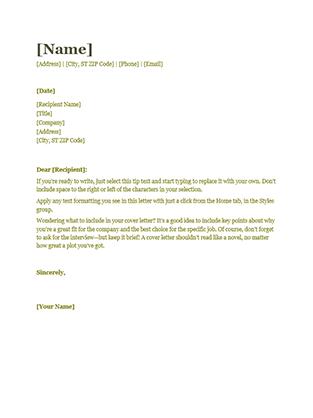 Resume cover letter (green)