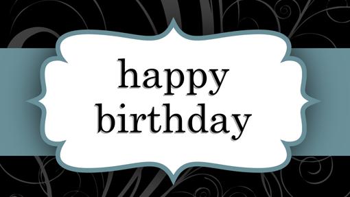 Birthday card (Blue Ribbon design, half-fold)