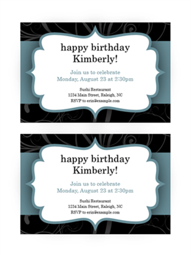 Party invitations (Blue Ribbon design, 2 per page)