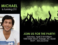 Party invitations (green on black)