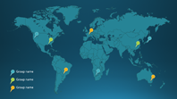 Map pins infographic (Depth theme, widescreen)