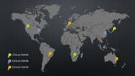Map pins infographic (Mesh theme, widescreen)