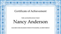 Certificate of achievement (blue)