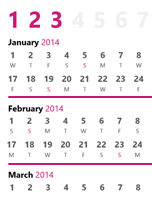 2014 quarterly calendar