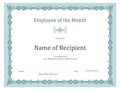 Certificate for Employee of the Month (blue chain design)