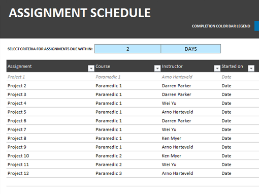 Assignment schedule