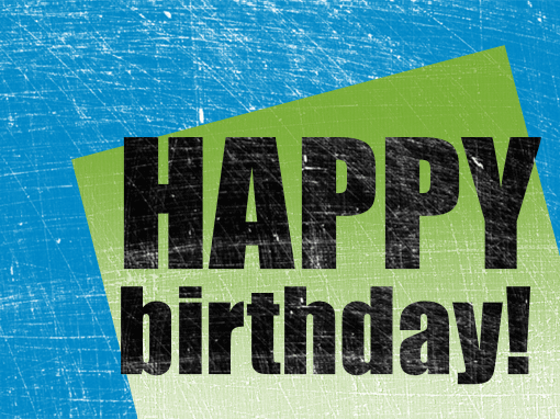 birthday card scratched background blue green half fold