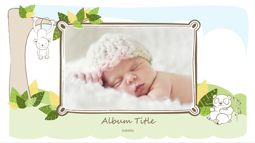 Baby photo album (animal sketches, widescreen) - Office Templates