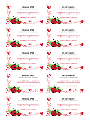 Cards office business cards ladybugs and hearts centered 10 per page reheart Choice Image