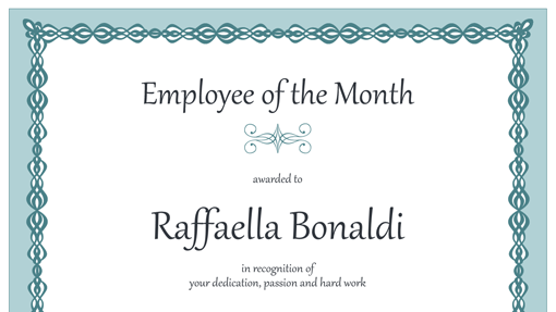 certificate of employee of the month template - certificate for employee of the month blue chain design
