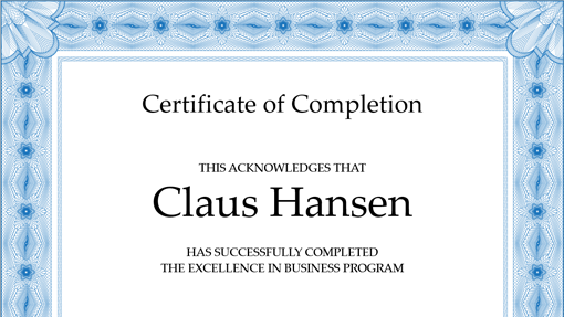 Certificate Of Completion (blue)  Excellence Award Certificate Template