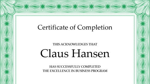 Certificate Of Completion (green)  Certificate Of Achievement Template