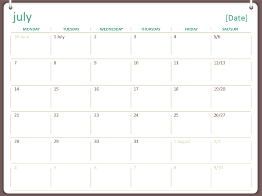 2014-2015 academic calendar (July-June) - Office Templates