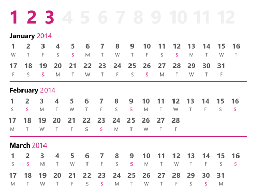Quarterly Calendar Template 2014 Images Template Design Free Download