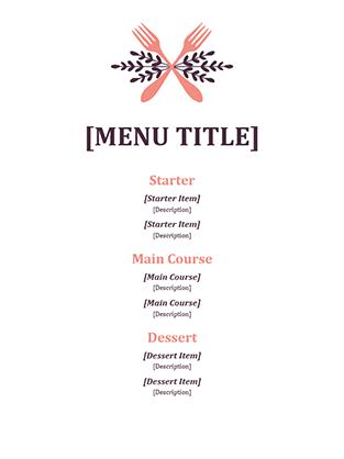 Informal event menu