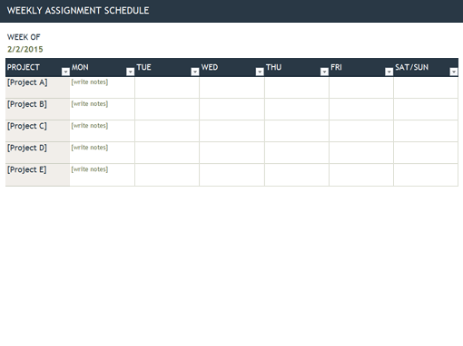 Weekly Assignment Schedule