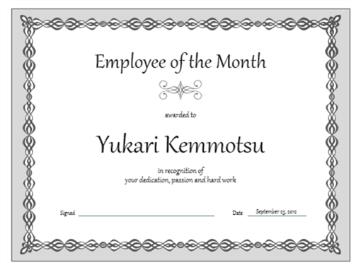 Superior Certificate, Employee Of The Month (gray Chain Design) And Congratulations Award Template