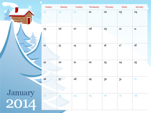 2014 illustrated seasonal calendar (Sun-Sat)