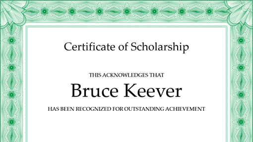 Certificate of scholarship (formal green border)