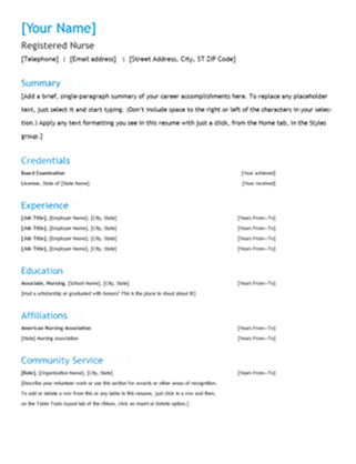 Registered nurse resume Office Templates