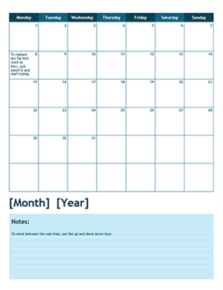 One month academic calendar monday start office templates for Calendrier photo mural gratuit