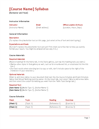 Syllabus for Create a syllabus template