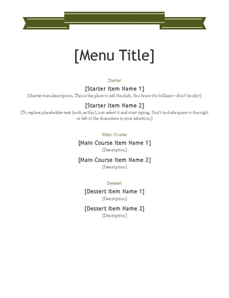 Office Templates   Office 365  Formal Dinner Menu Template