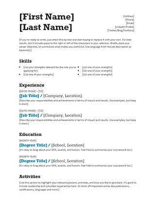 Balanced Resume (Modern Design)  Registered Nurse Resume Template