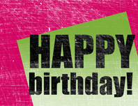Birthday card, scratched background  (pink, green, half-fold)