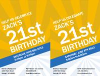 Birthday invitations (gold rays)