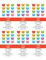 Personal business cards (Rainbow Bear design)