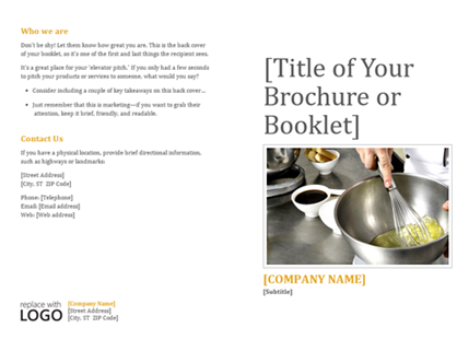Booklet for products and services