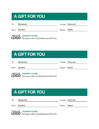Small business gift certificates