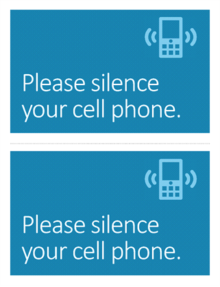 Cell phone off reminder poster (blue)