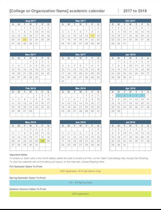 Academic year calendar
