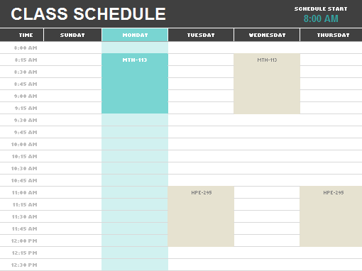 Student schedule Office Templates – College Schedule Template
