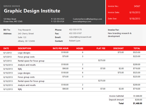2013 microsoft office invoice templates