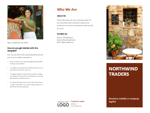Business tri fold brochure office templates for Tri fold brochure template powerpoint