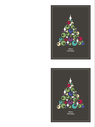 Christmas cards (tree of ornaments, 2 per page)