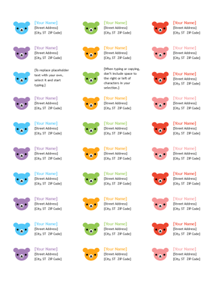 Address labels (Rainbow  Bear design)