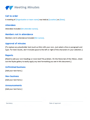 Meeting minutes office templates for Minute of meeting template doc