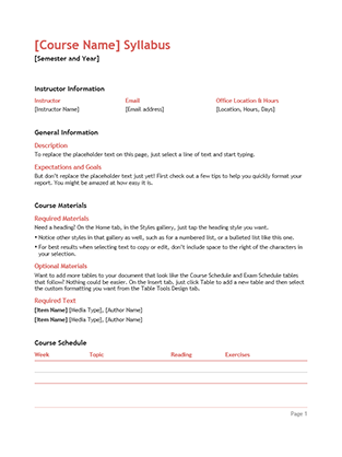 Syllabus - Office Templates