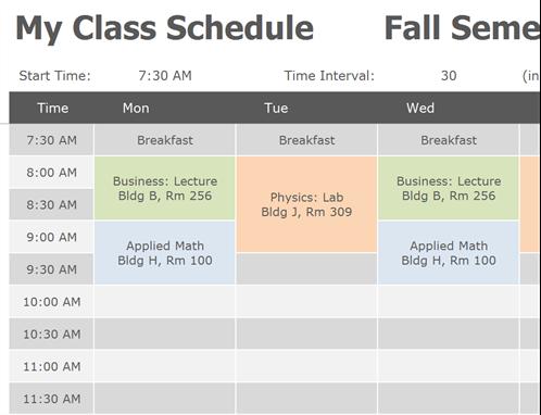 scheduler template word