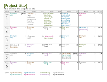 Project planning timeline for Startup milestone template