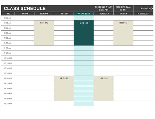 Student schedule