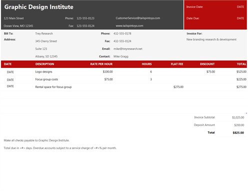 Service invoice (red and black)