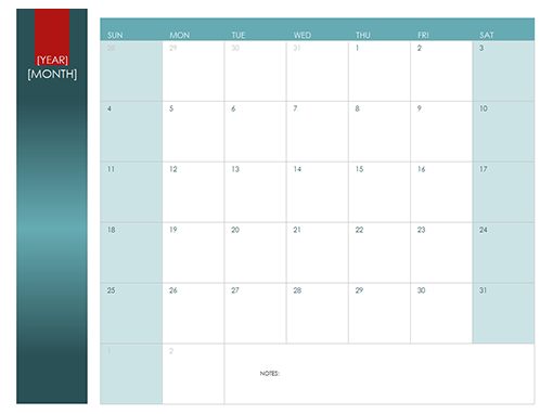 Any year 12 month calendar